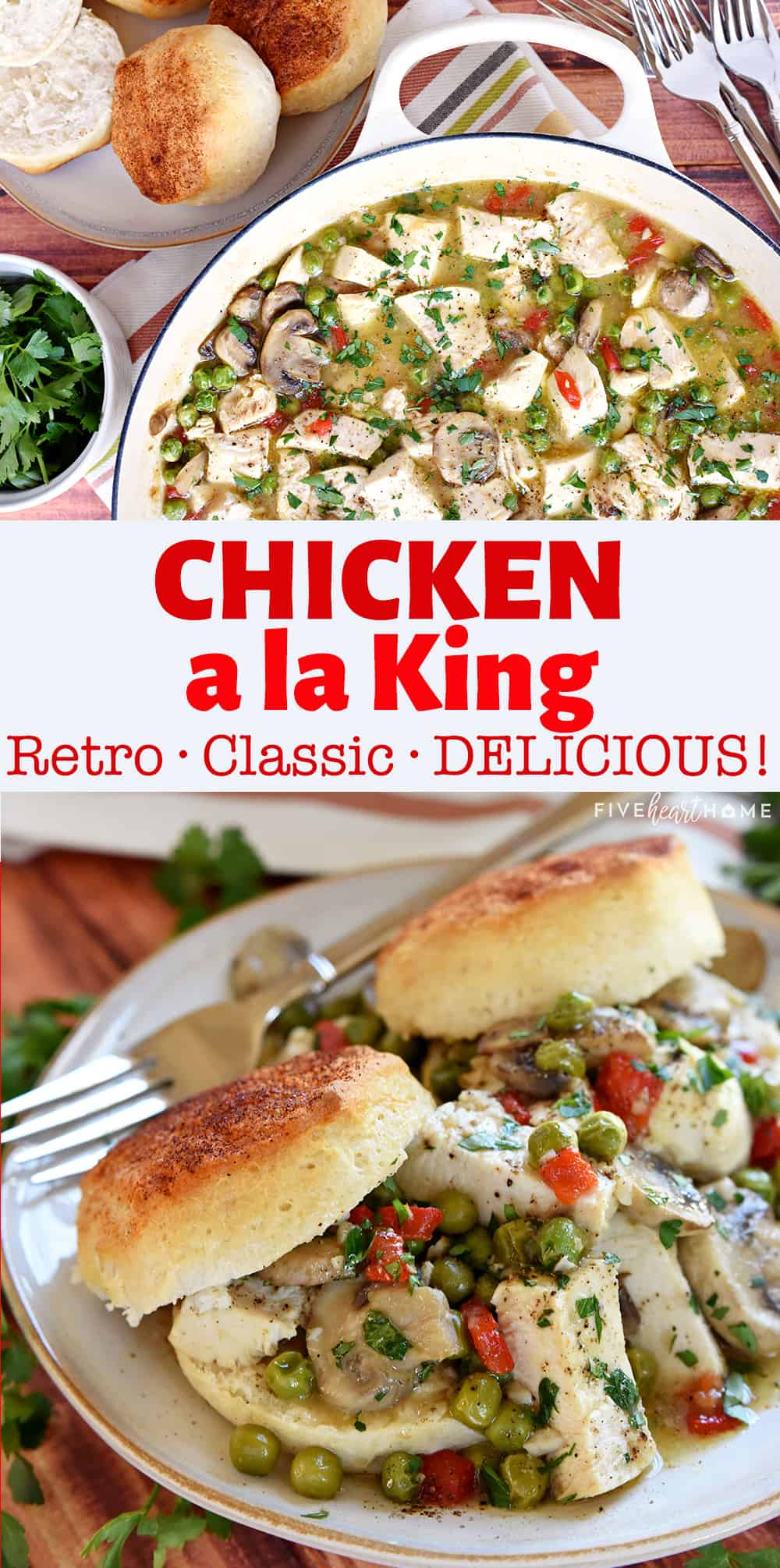 Chicken ala King is a classic, healthy dinner recipe featuring tender chicken breasts, garlicky mushrooms, sweet peas, zesty pimentos, and fresh parsley in a flavorful sauce served over warm, fluffy biscuits. via @fivehearthome