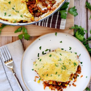 Aerial view of Easy Shepherd's Pie on a plate and in a skillet.