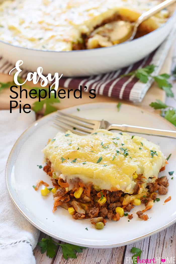 Easy Shepherd's Pie with text overlay.