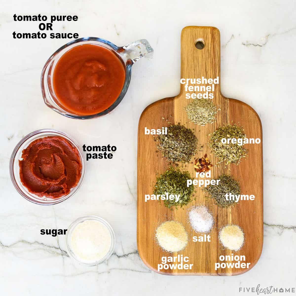 Aerial view of labeled ingredients.