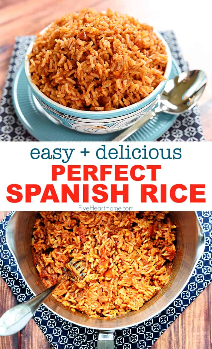 Easy Spanish Rice ~ cook a pot of rice using chicken broth, tomato sauce, and a few seasonings to make this quick and easy Spanish Rice...it's the perfect base for rice bowls or a delicious side dish to your favorite Mexican entrees! | FiveHeartHome.com via @fivehearthome
