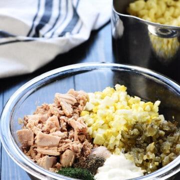 Tuna Pasta Salad ingredients in a bowl.