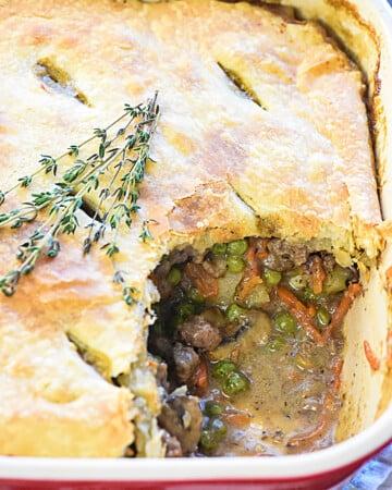 Beef Pot Pie with missing scoop.