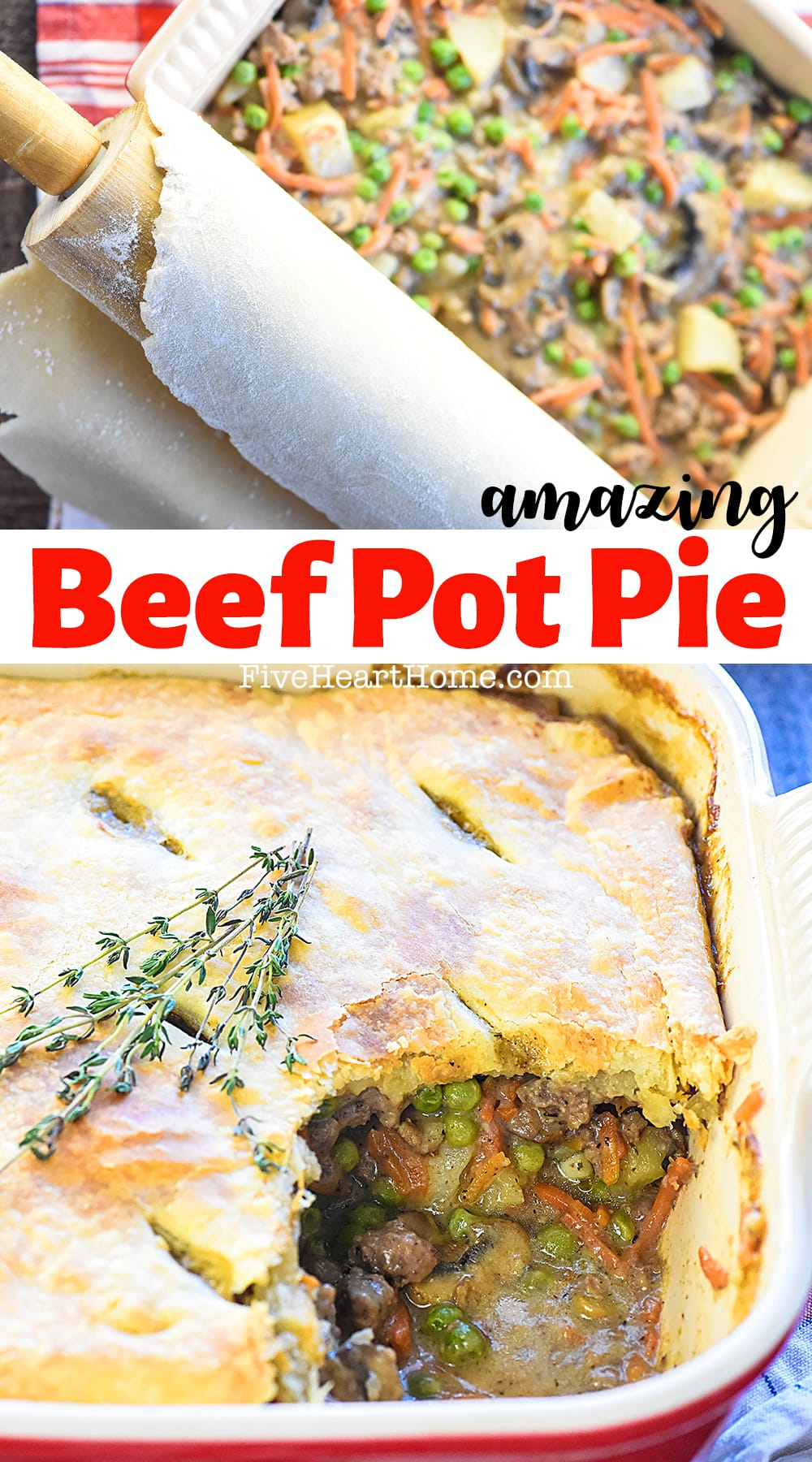 Beef Pot Pie ~ a hearty, delicious comfort food recipe featuring savory ground beef and veggies in a flavorful gravy topped by a flaky, buttery pie crust. And if you prefer, it's just as easy to make it with tender cubed beef! | FiveHeartHome.com via @fivehearthome