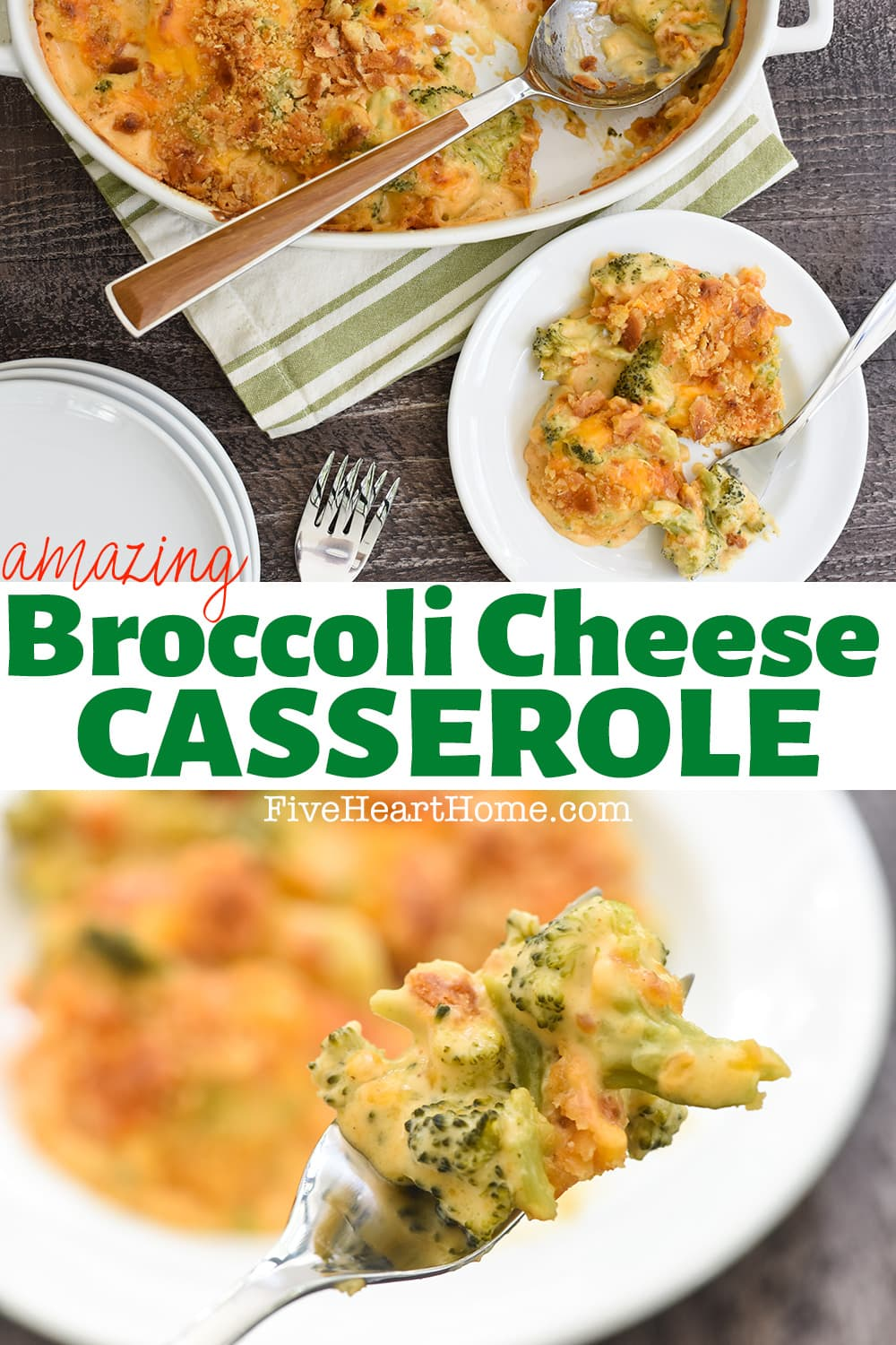 Broccoli Cheese Casserole ~ a comfort food classic side dish, this Broccoli Cheese Casserole recipe features frozen broccoli, an easy homemade cheese sauce, and is topped with a mixture of buttery cracker crumbs! | FiveHeartHome.com via @fivehearthome