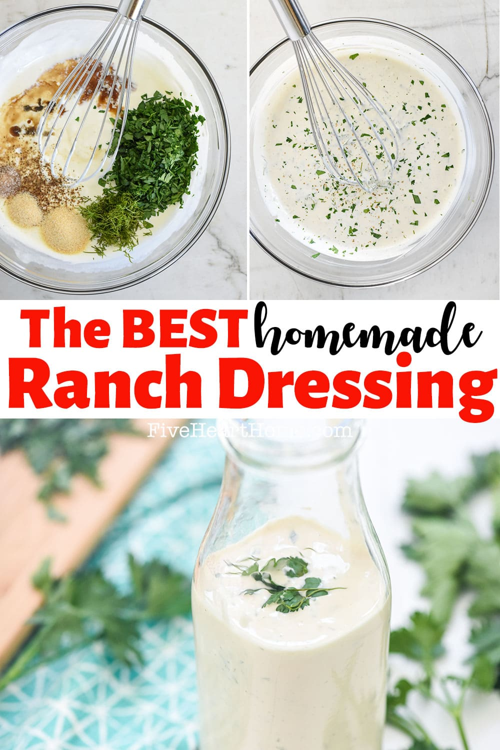 The BEST Homemade Ranch Dressing ~ this ranch dressing recipe is all-natural, loaded with buttermilk and herbs, quick and easy to make, and so delicious that you'll never go back to store-bought again! | FiveHeartHome.com via @fivehearthome