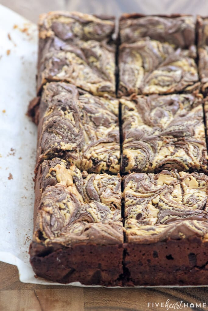Close-up of edges of sliced Peanut Butter Brownies.