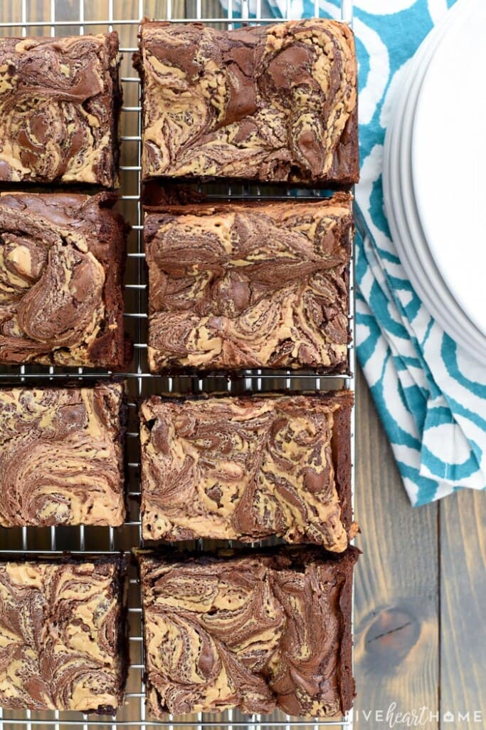 Aerial view of Peanut Butter Brownies on cooling rack.