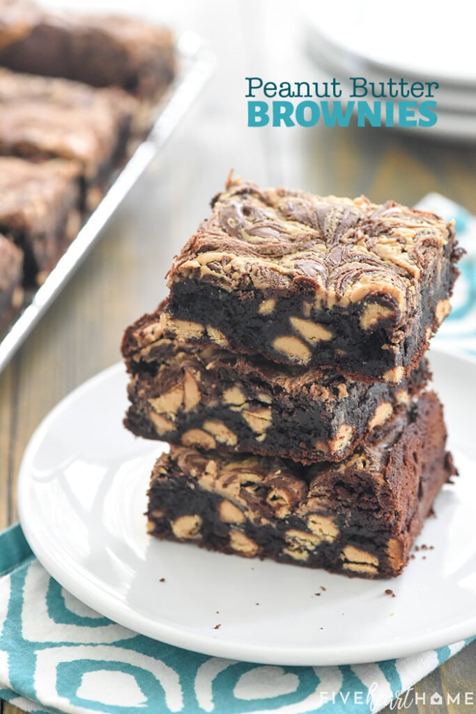 Stack of three Peanut Butter Brownies on plate with text overlay.