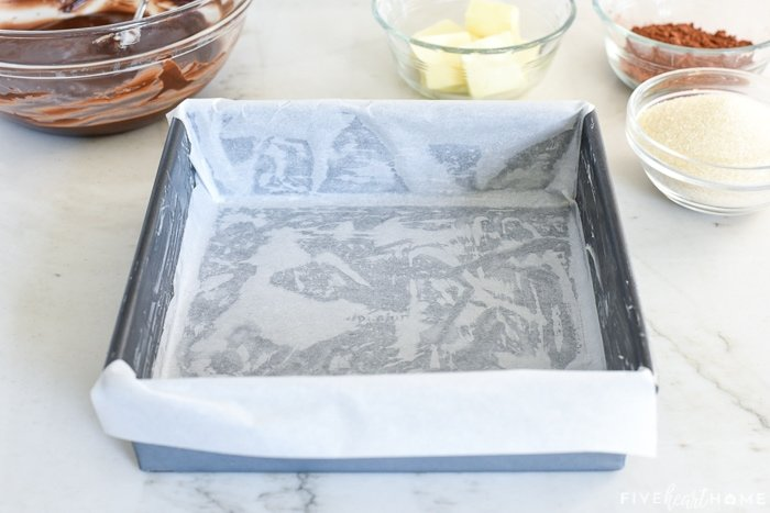 Prepared baking pan, greased and lined with parchment paper.