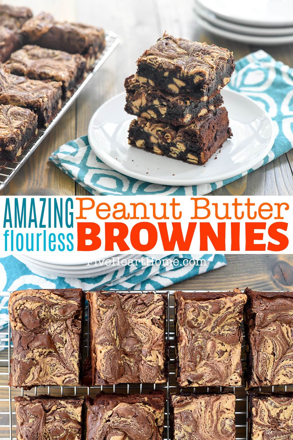Peanut Butter Brownies ~ rich and decadent with an amazingly fudgy texture, this flourless brownie recipe is studded with peanut butter chips and swirled with peanut butter on top for a chocolate/PB lover's DREAM! And since this Peanut Butter Brownie recipe is flourless, it's also naturally gluten-free!   FiveHeartHome.com via @fivehearthome