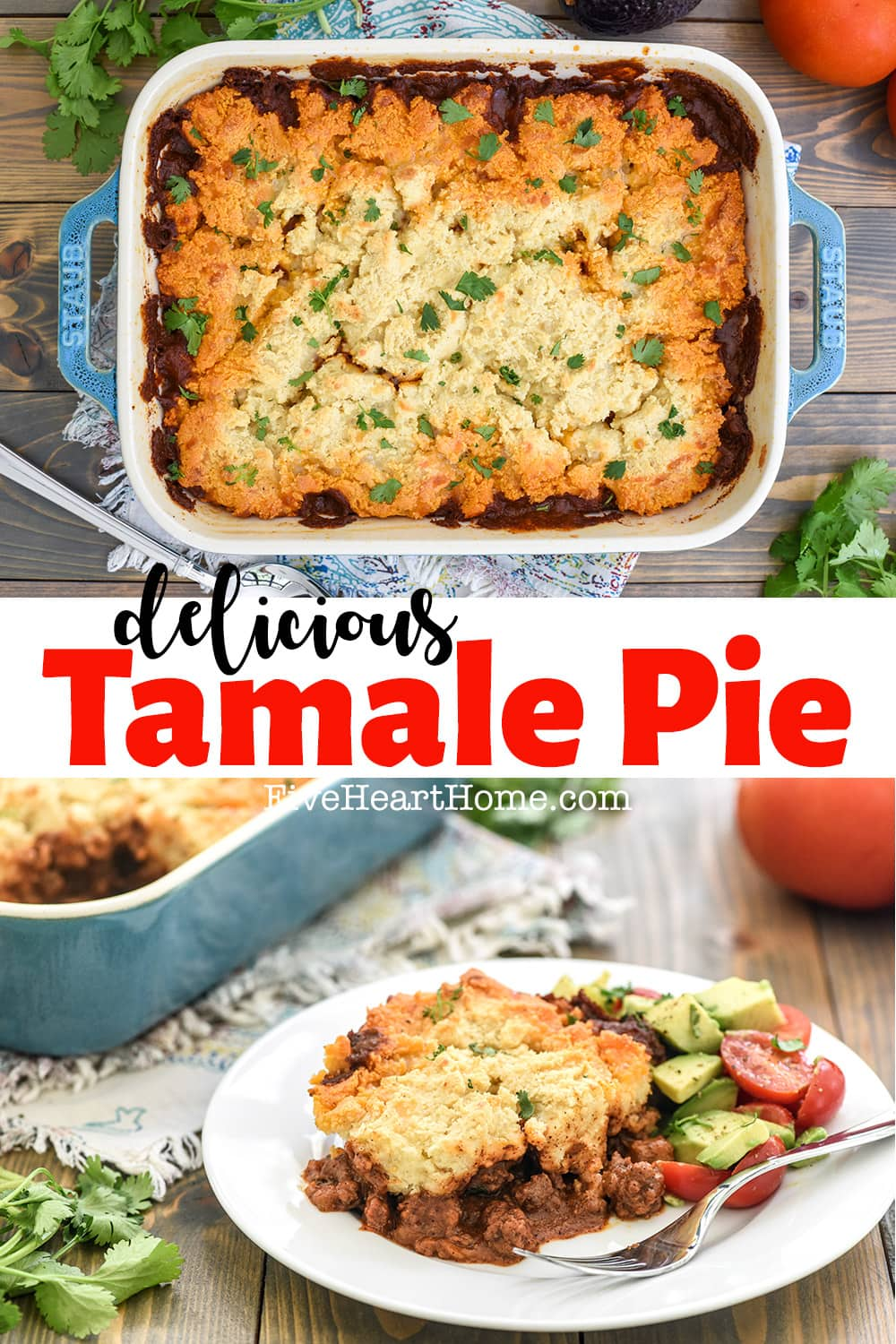 Tamale Pie ~ this easy dinner recipe features a zesty, flavorful ground beef filling with a delicious baked topping made of masa. The result is meal that tastes amazingly like a beef tamale and can easily be made gluten-free! | FiveHeartHome.com via @fivehearthome