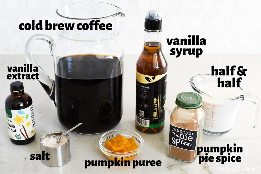 Pumpkin Cream Cold Brew ingredients with labels.
