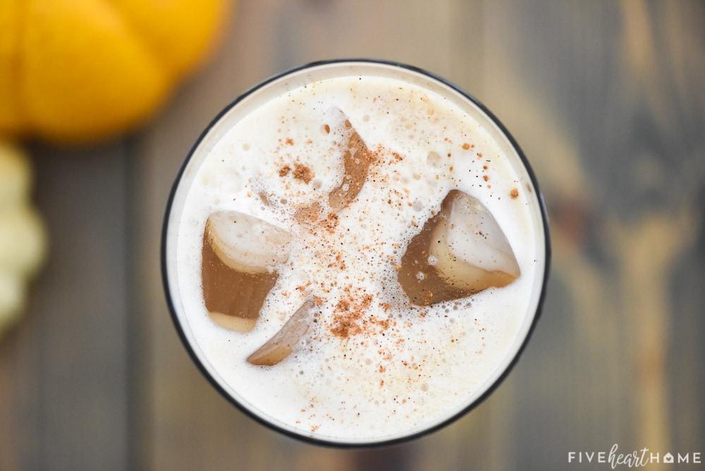 Aerial close-up of foam atop Pumpkin Cream Cold Brew.